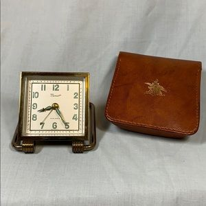 RARE Anheuser-Busch Beer TRAVEL CLOCK +Case WORKS!